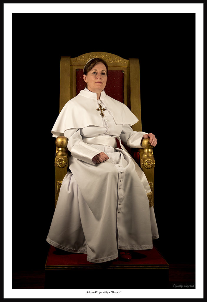 participant in #Vote4Pope a public participatory art project intended to draw attention to the unequal status of women in the Catholic chuch. Visit vote-4-pope.com
